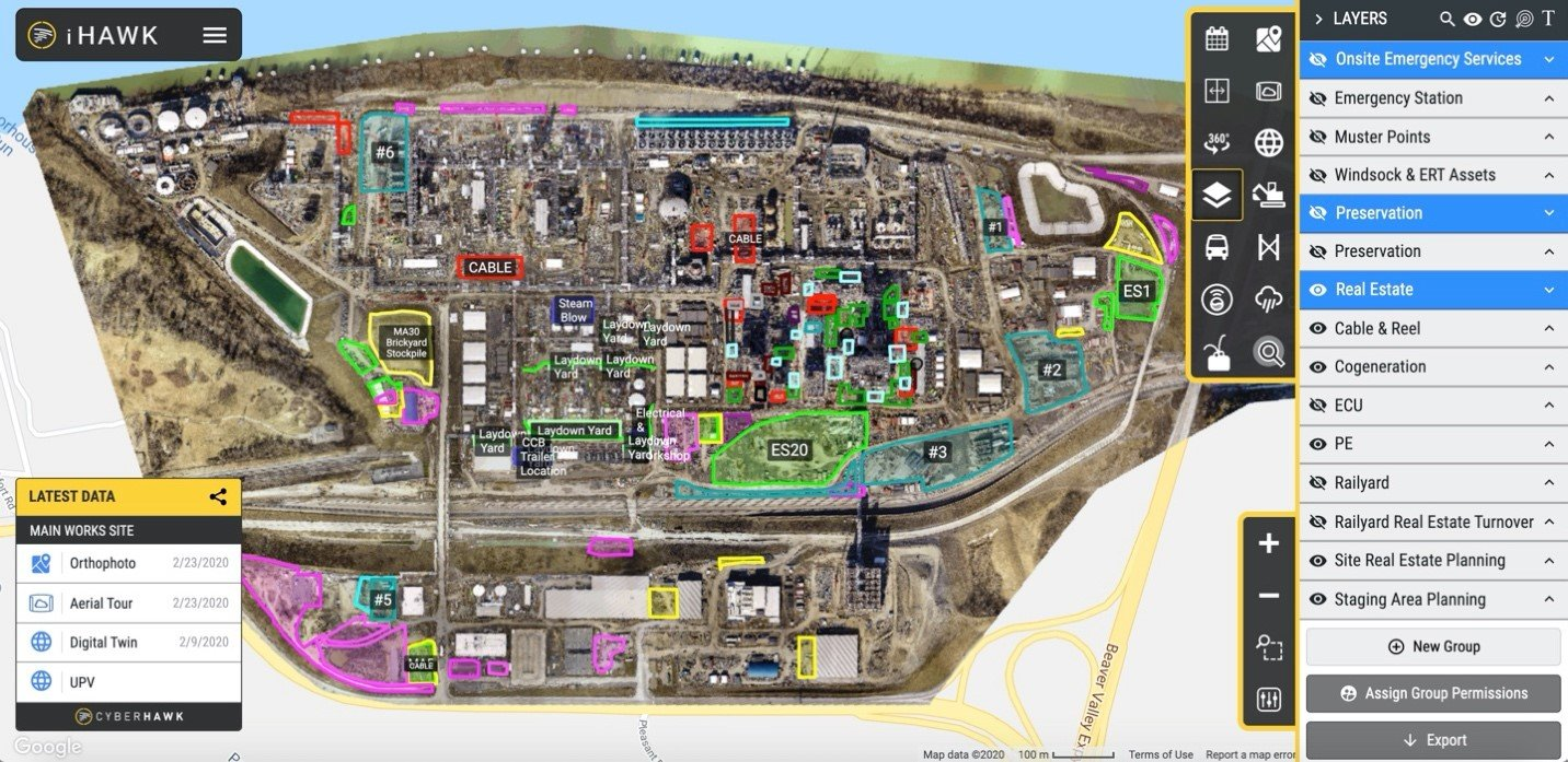 overhead map of refinery